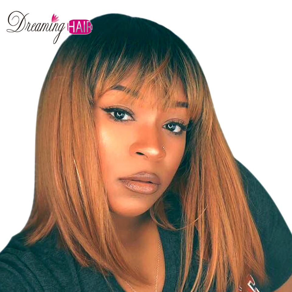 1B 30 13X4 Short Lace Front Human Hair Wig Brazilian Remy Hair Bob Wig With Bangs  Pre Plucked Lace Wig For Black Women