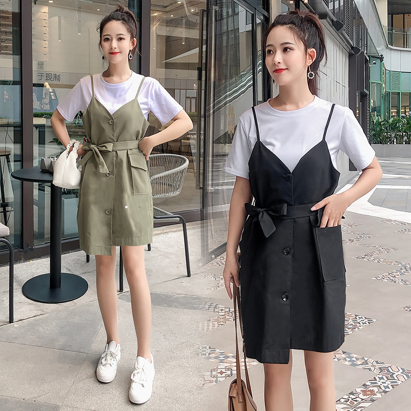 2019 Summer Wear New Style Korean-style Simple White T-shirt Women's Slimming Versatile Tops Fairy Suspender Strap Dress Outfit