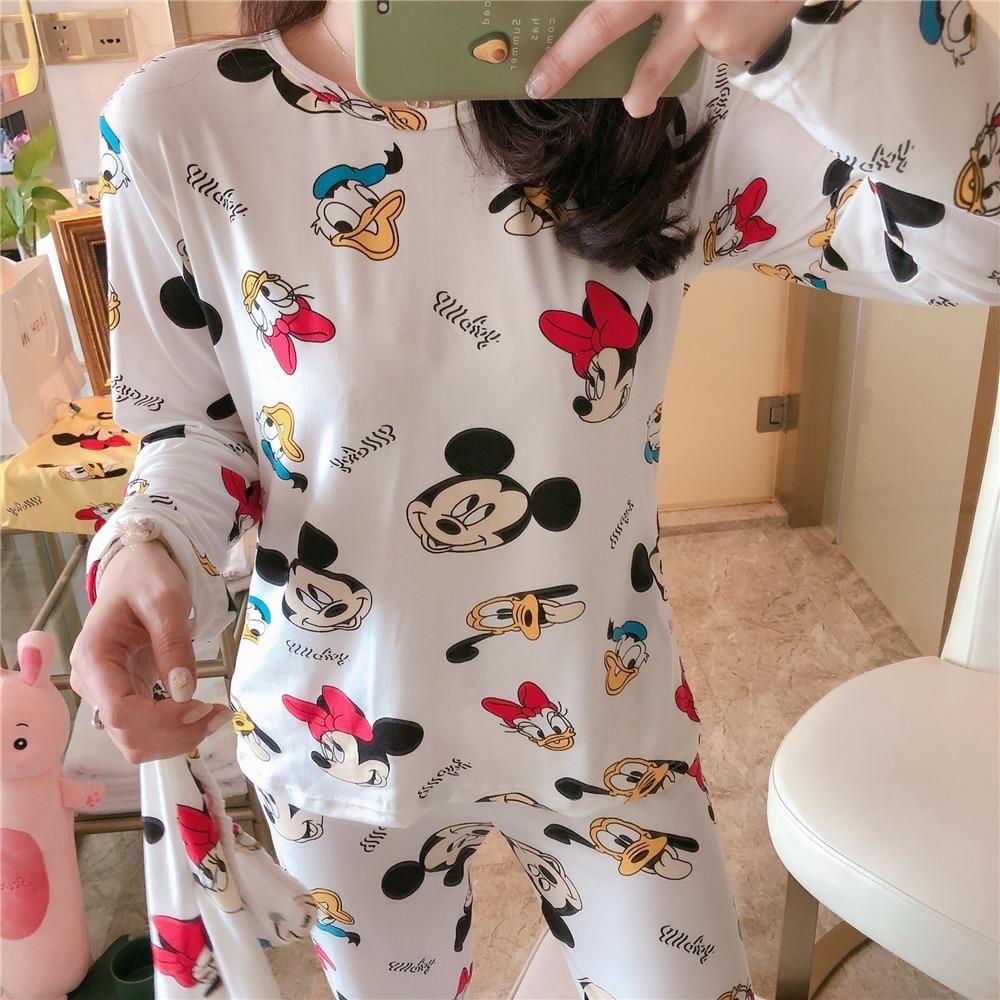 Pajama Sets Women Winter Autumn Soft Cotton Sleepwear Long Sleeve Pyjama Cute Cartoon Sleepwear Pyjamas Nightsuits