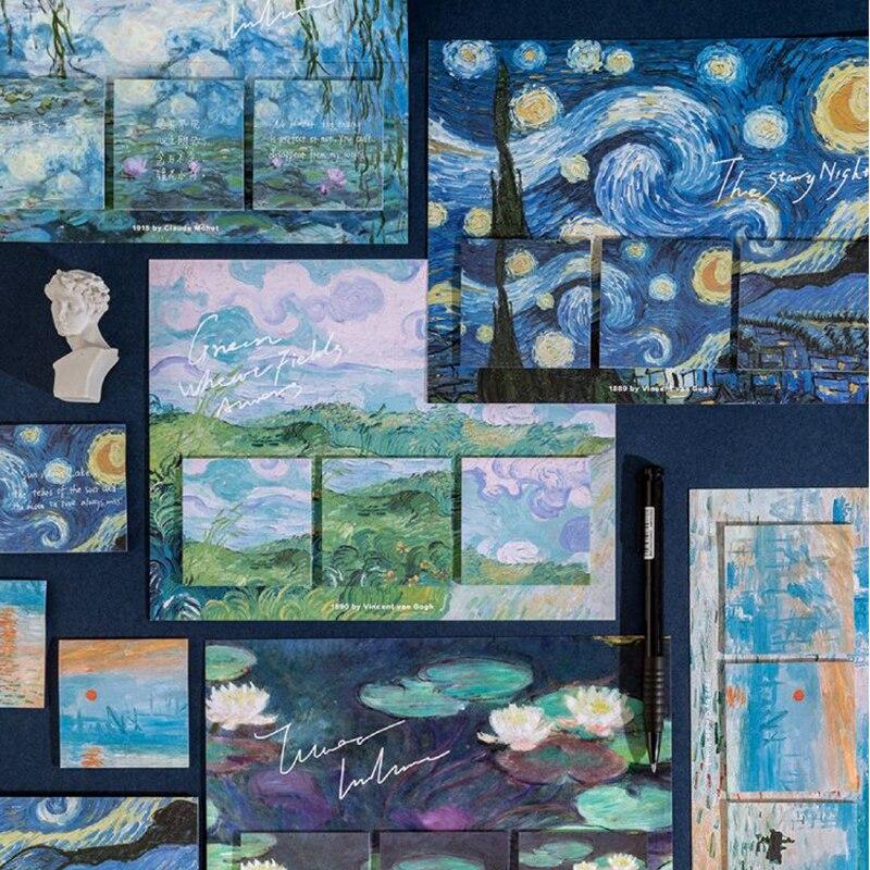 60 Pçs/set Artista Van Gogh Notas Notas Notas Escritório Kawaii Observa Diário DIY Criativo Deco Papelaria Scrapbooking Cartões