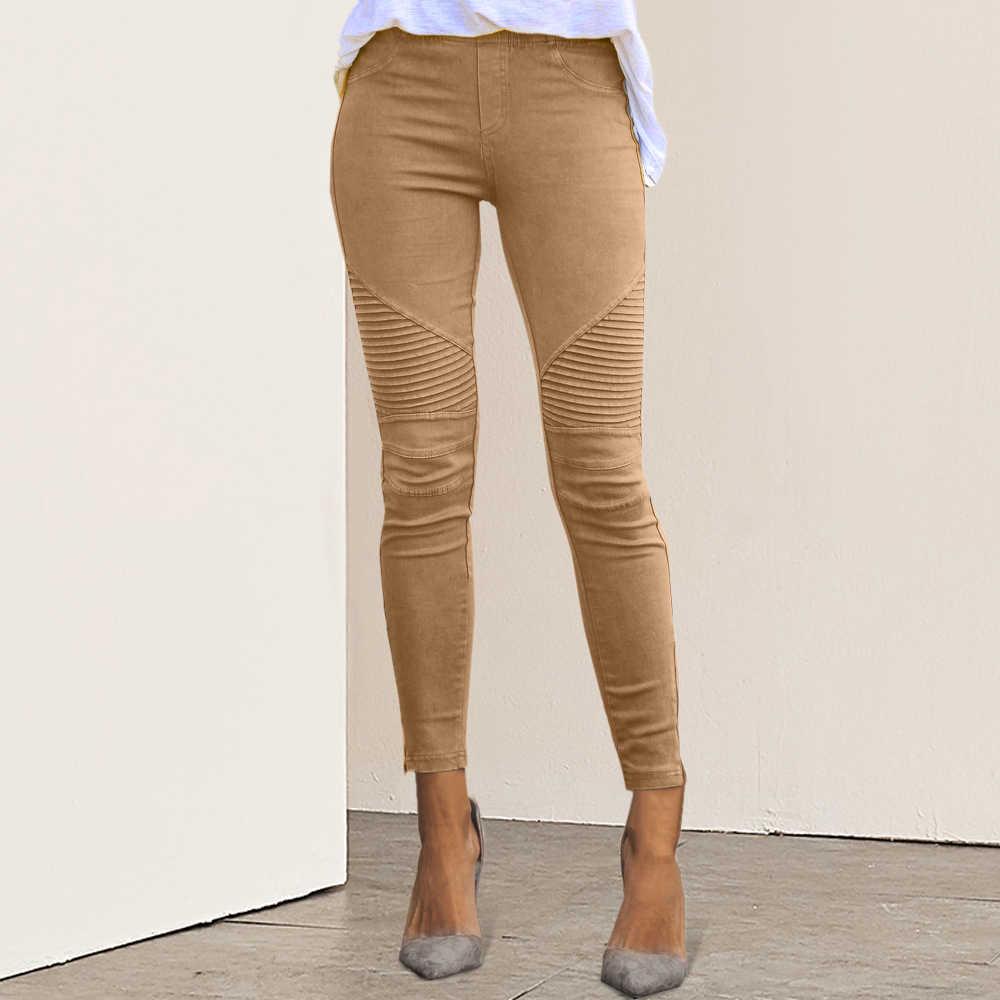 Kadınlar yüksek bel pantolon Slim Fit ince pantolon 2019 sonbahar seksi kadın kadın moda rahat Joggers elastik pantolon Femme pantolon