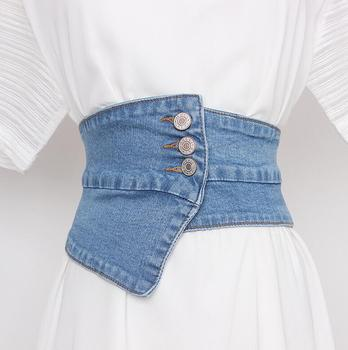 Women's Runway Fashion Blue Denim Elastic Cummerbunds Female Dress Corsets Waistband Belts Decoration Wide Belt R229