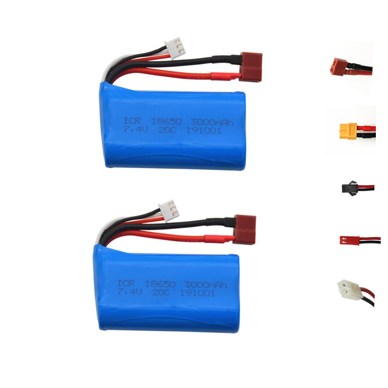 <font><b>7.4V</b></font> <font><b>3000mAh</b></font> 18650 <font><b>lipo</b></font> <font><b>battery</b></font> For Udi U12A Syma S033g Q1 H100 H101 H102 H103 FT009 rc boats model aircraft EL-2P/SM/JST/T Plug image