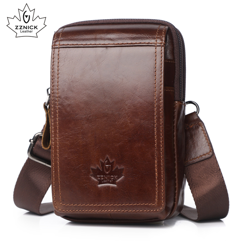 ZZNICK Genuine Leather Fanny Pack Waist Packs Men Waist Bags 2020 Belt Bag Phone Bags Travel Waist Pack Male Small Waist Bag