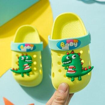 Kids Cartoon Rabbit Dinosaur Garden Shoes For Boys Girls Beach Shoes Breathable Baby Shoes Non Slip Children Indoor Croc Slipper