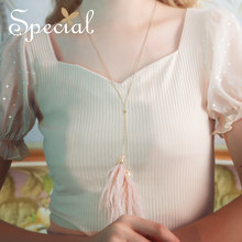 The SPECIAL New Fashion pink ostrich hair necklace sweater chain girl show thin peak Eskimo summer new ,S1994N(China)