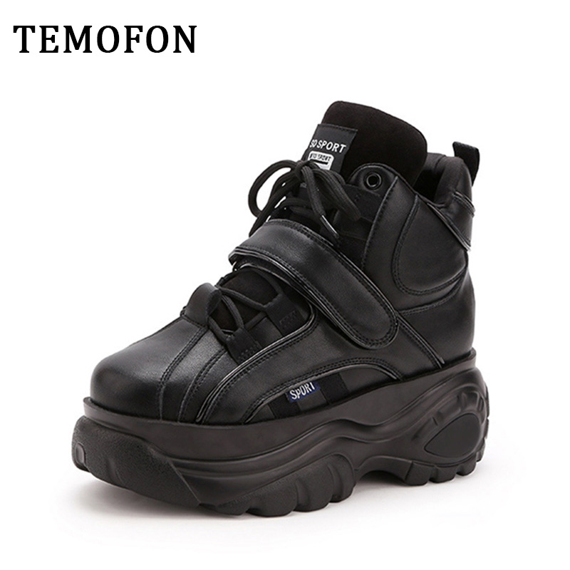 TEMOFON 2020 fashion platform sneakers women high top casual shoes chunky shoes height increasing lace up female sneakers HVT760