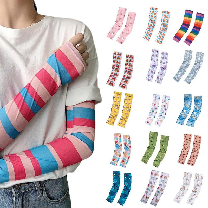 Korea Ins Fashion Nova Woman Tattoo Sleeve Arm Gloves Thin Summer Anti-mosquito Sunscreen Bands Arm Sleeves Arm Warmers