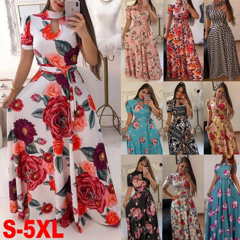 Summer Women Long Dress Casual Floral Print Boho Beach Maxi DressO-neck Bandage Elegant Ladies Party Vestidos De Feata 5XL