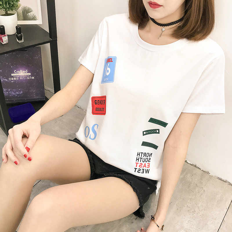 Versitile Fashion Fun Patroon Korte Mouwen T-shirt Tops 2019 Zomer Nieuwe Stijl Studenten Koreaanse Stijl Side Slit