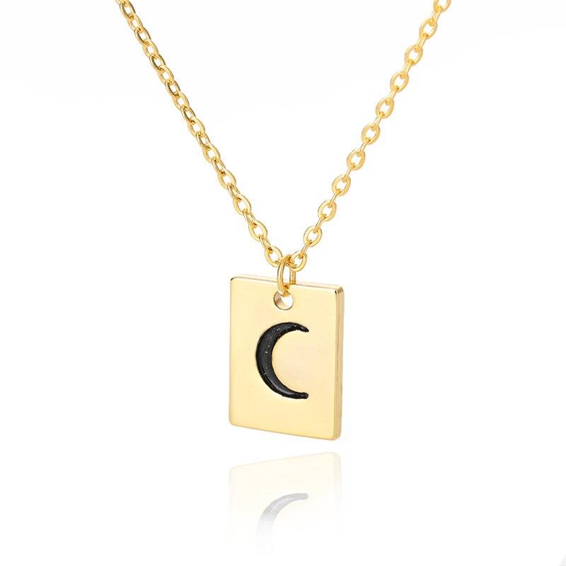 Pequena lua colares para mulheres geométrico quadrado pingente de aço inoxidável corrente gargantilha colar jóias para meninas presentes da amizade