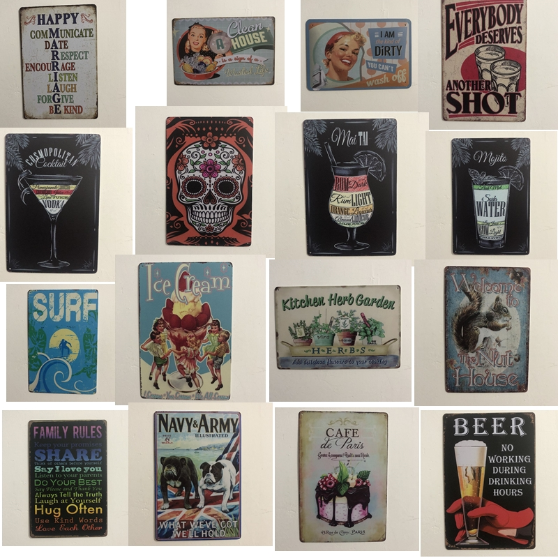 [Luckyaboy] Beer Mai Tai Kitchen Herb Garden Cafe Vintage Metal Tin Signs Home Bar Pub Garage Decor Plates Man Cave Wall Sticker