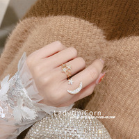 Ladyunicorn Elegant South Korea Sweet New Products Star Moon Zircon Rhinestone Adjustable Ring Set Gold And Silver