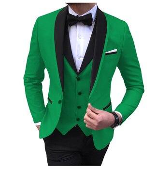 Blue Slit Mens Suits 3 Piece Black Shawl Lapel Casual Tuxedos for Wedding Groomsmen Suits Men 2020 (Blazer+Vest+Pant) 18