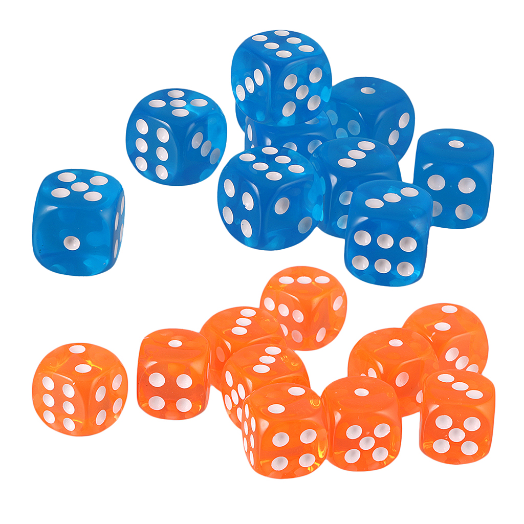 20/Set Table Game Dice Family 6-Sided Die Dice for TRPG Polyhedral Dices, 10pcs Light Blue & 10pcs Orange