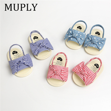 021 Baby Summer Clothing Kids Infant Baby Girl Shoes Bowknot Plaid Striped Floral Party Princess Beach Shoes