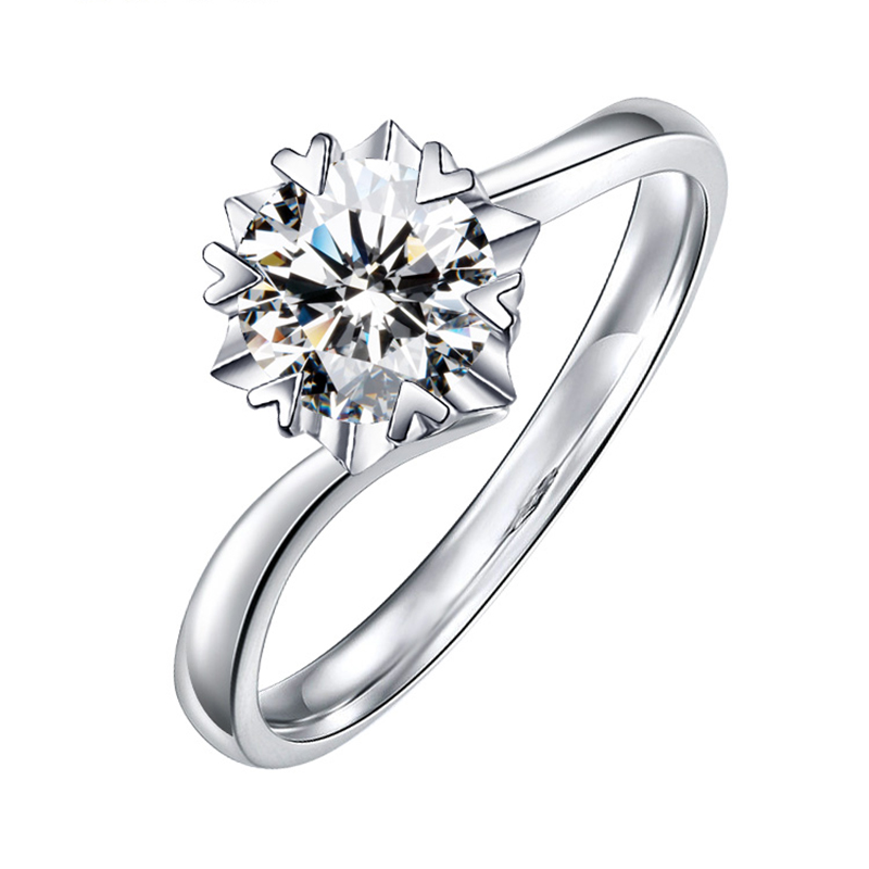 BOEYCJR 925 Silver Snowflake 0.3ct/0.5ct/1ct F Color Moissanite VVS  Engagement Wedding Ring With National Certificate For Women