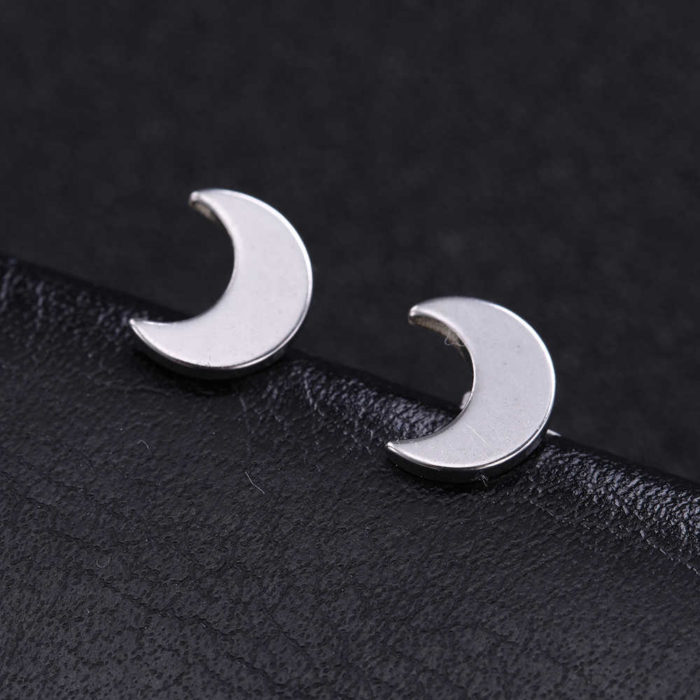 COOLTIME Stainless Steel Ear Retro Pendant Necklace model of female silver moon star crescent Heart Small Earrings