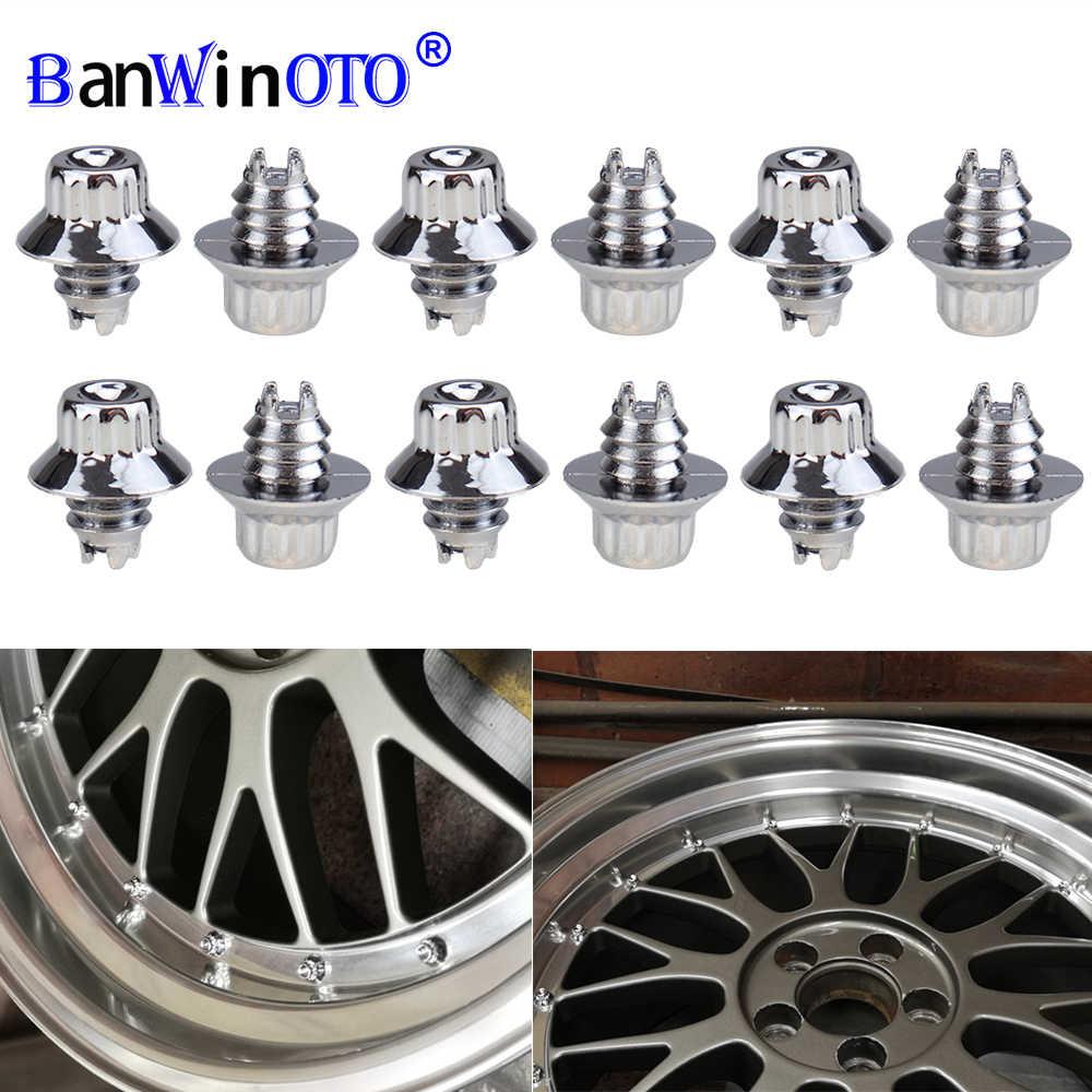 100 x Chrome Silver Plastic Wheels Rivets Nuts Rim Lip Replacement Bolts Studs