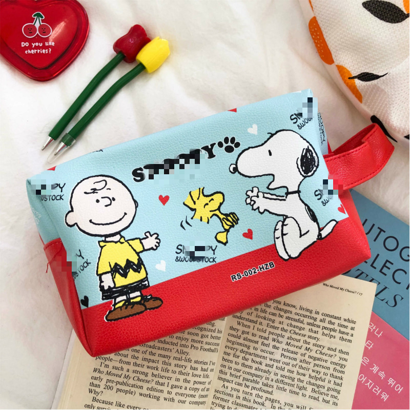 Cartoon Cute Puppy Rogue Dog Large Capacity PU Pencil Case Office Learning Storage Pencil Bag Tool Girl Kawaii Cosmetic Bag