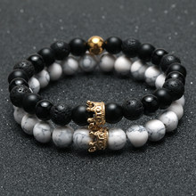 2pcs Charm paired Bracelet for Men gold Crown Women's Bracelets Natural Stone Beads Wristband Boho Couple Bracelet Gifts Friends(China)