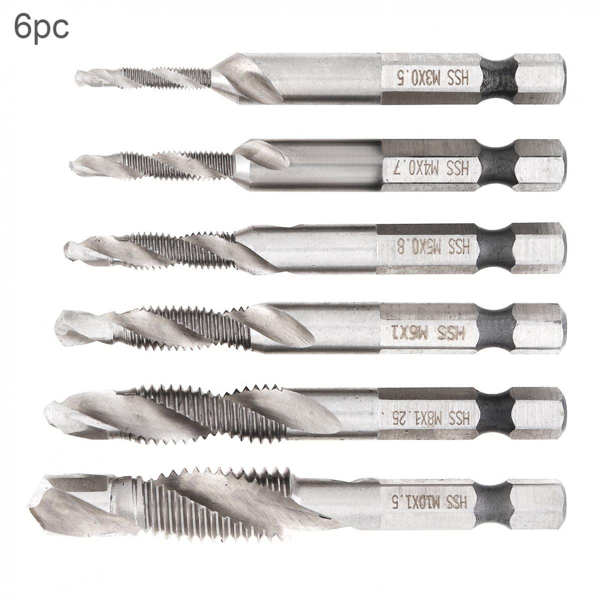 6pcs/lot Drill Bit Hex Shank HSS Screw Drill Bits Set Screw Point Metric Thread Male Drill