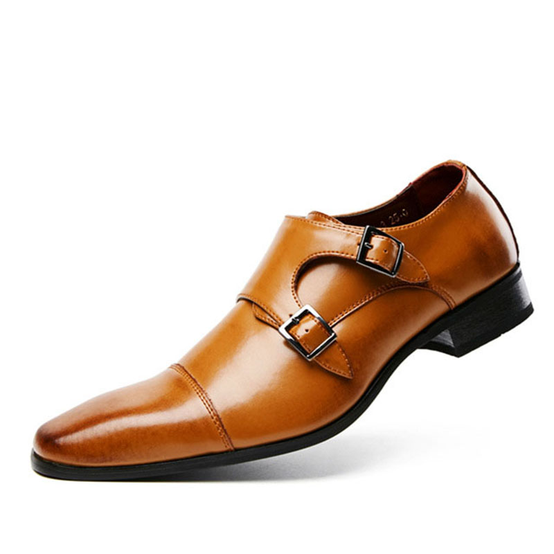 2019 Hot Genuine Leather Shoes For Men Wedding Office Dress Shoes Brown Patina Handmade Monk Strap Shoes Casual Footwear title=
