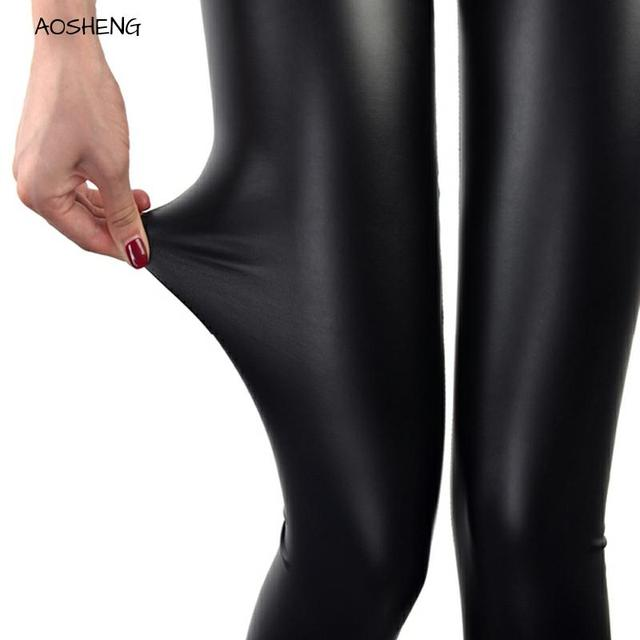 S 3XL artı boyutu kadın suni deri tozluk yaz seksi yüksek bel rahat ince siyah Push Up ışık ve mat Femme spor tayt