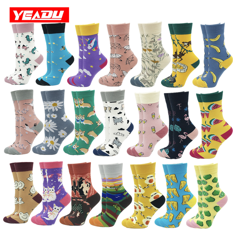 Yeadu New Harajuku Cotton Women's Socks Cute Soft Novelty Kawaii Funny Dog Cat Watermelon Bee Flamingo Sock For Girl Gift