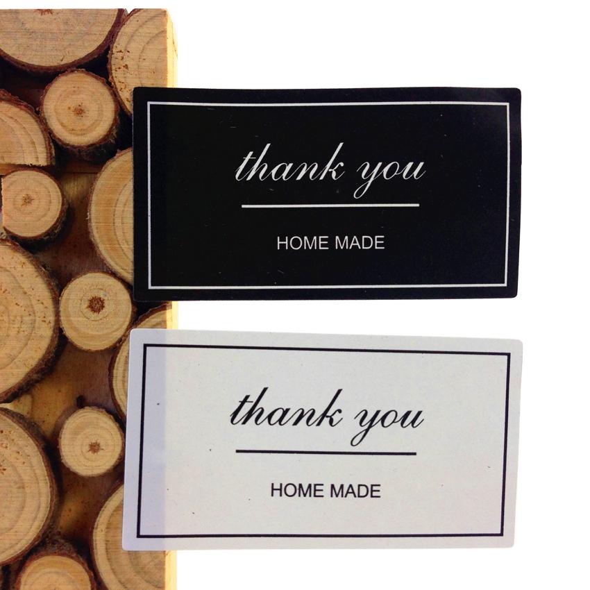 100pcs/pack Black And White Thank You Rectangular DIY Vintage Sealing Stickers For Gift Cake Baking