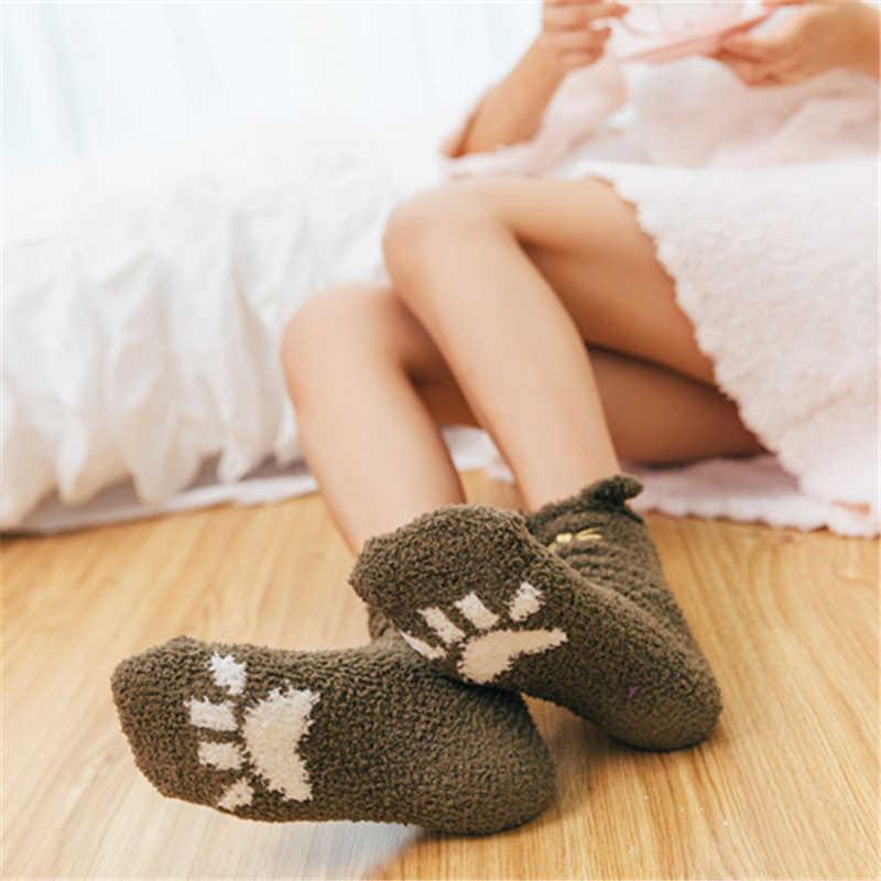 女子かわいい 3D 耳刺繍猫爪のハート暖かい冬ソフトサンゴフリース床ホームベッドソックスクリスマスギフトドロップシップ