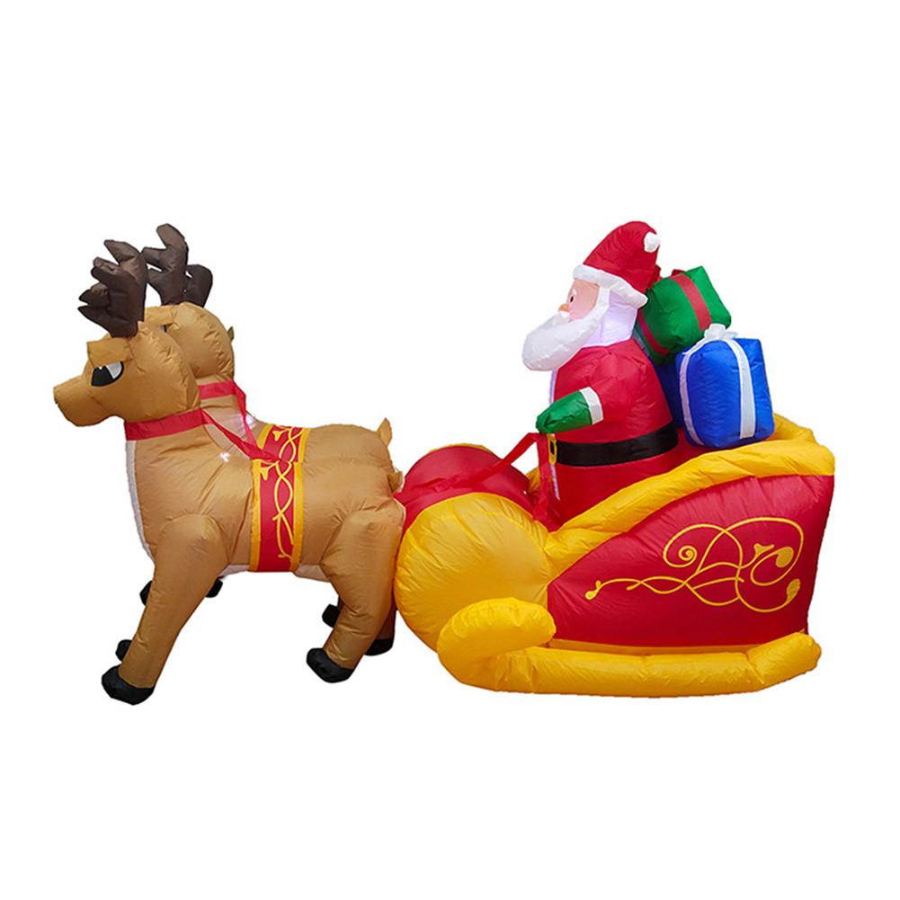 220cm Giant Inflatable Santa Claus Double Deer Sled Blow Up Fun Toys For Child Christmas Gifts Halloween Party Prop LED Lighted