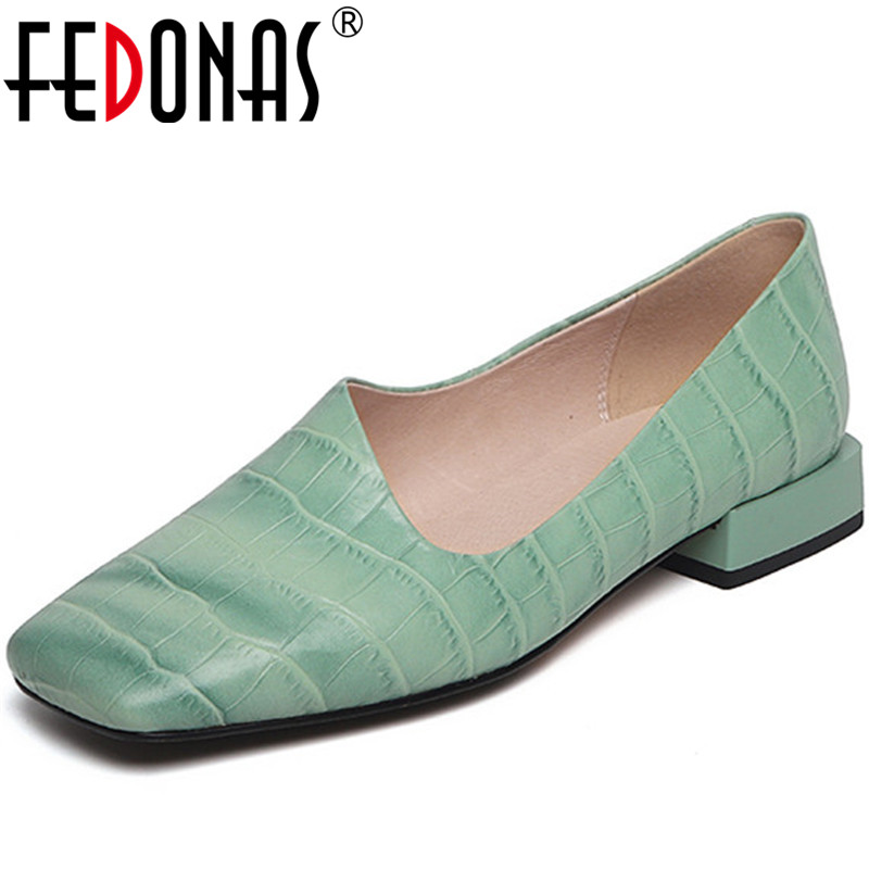 FEDONAS 2020 Women Party Prom Square Heeled Pumps Spring Summer Famale Square Toe Loafers Cow Leather Sweet Newest Shoes Woman