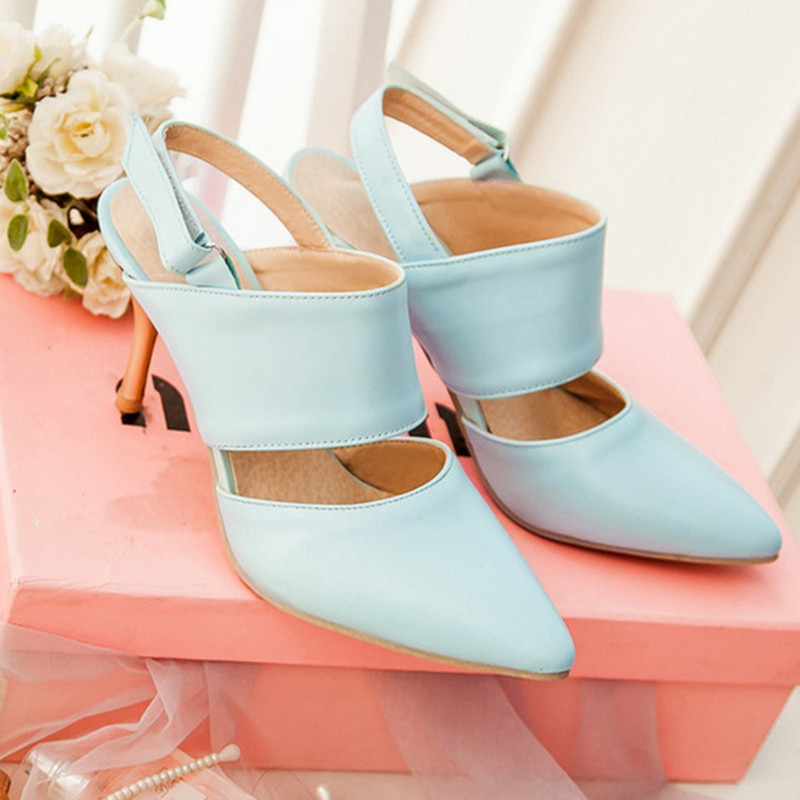 Fashion High Heels Sandals Pu Leather Shoess Woman Ankle Strap Ladies Dress Party Shoes Black Blue Apricot Size 30-48
