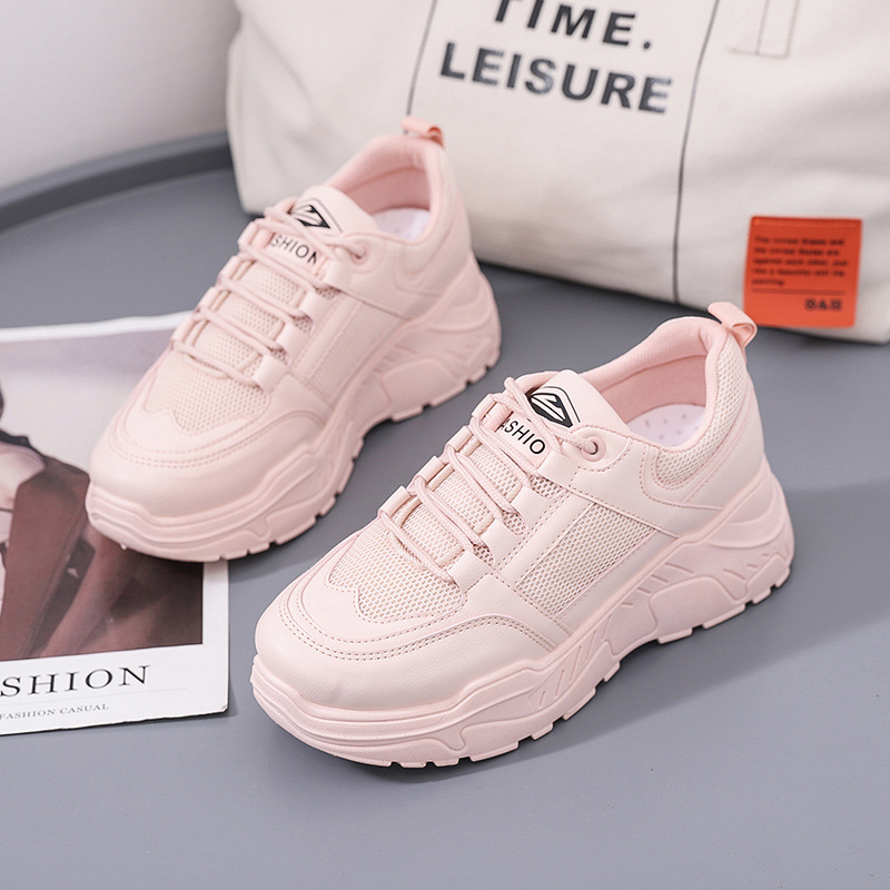 Women's Vulcanized Shoes 2019 Autumn New White Shoes Solid Color Sports Platform Breathable Running Trend Casual Shoes Women