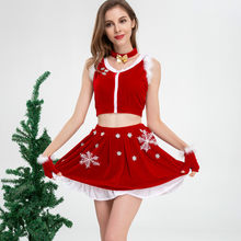 Women's Christmas Costume Sets Cute Bow Choker + Fur Trim Crop Tank Top + Snowflake Skirt + Gloves Suits Sexy Club Red Clothing(China)