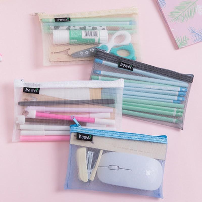 1pcs Transparent Mesh Pencil Case Stationer  Korean Bag Novelty High Capacity Pencil Pouch Student Cute  Pen Bag School Supplies