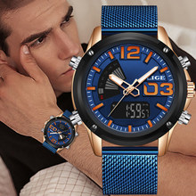 New Man Stainless Army Military Wrist Watch LIGE Luxury Brand Men Watch Fashion Sports Watches Men's Waterproof Quartz Clock+Box(China)