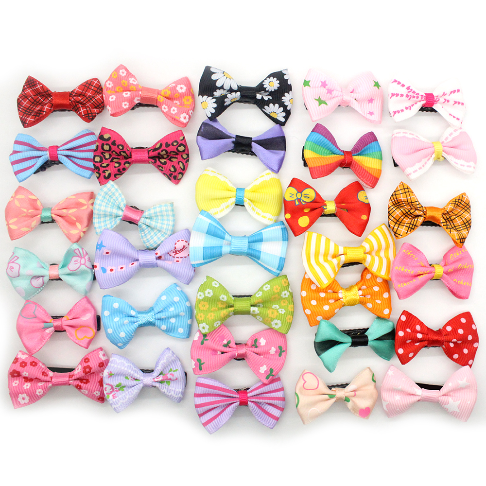 20Pcs/lot New Fashion Girls Kids Candy Color Dot Flower Print Ribbon Bow Hairpin Hair Clips Kids Hair Accessories
