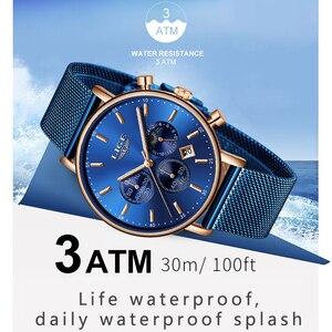 Image 4 - LIGE 2019 kadın moda mavi quartz saat bayan örgü kordonlu saat yüksek kaliteli rahat su geçirmez kol saati kadın izle Reloj Mujer