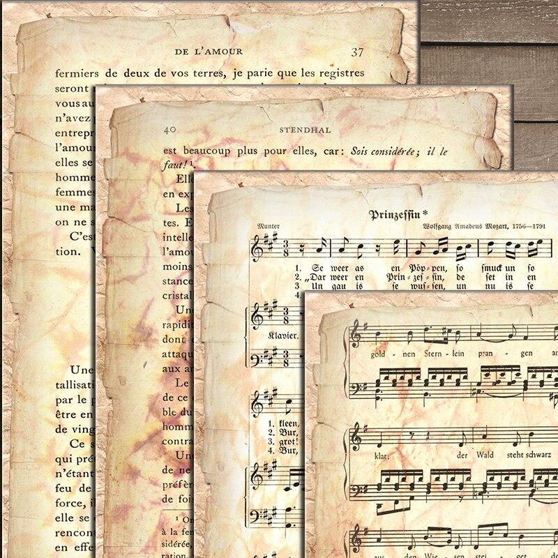 Старинная музыкальная Оценка материал бумага нежелательный журнал украшение Сделай Сам Скрапбукинг Старинная книга страница крафт бумага