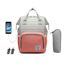 LEQUEEN Diaper Bag USB Charging Shoulder Multi-Function Large-Capacity Backpack Mommy Bag Mother Baby Travel Stroller Wet Bag