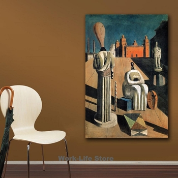The Disquieting Muses Painting by Giorgio de Chirico Printed on Canvas 2