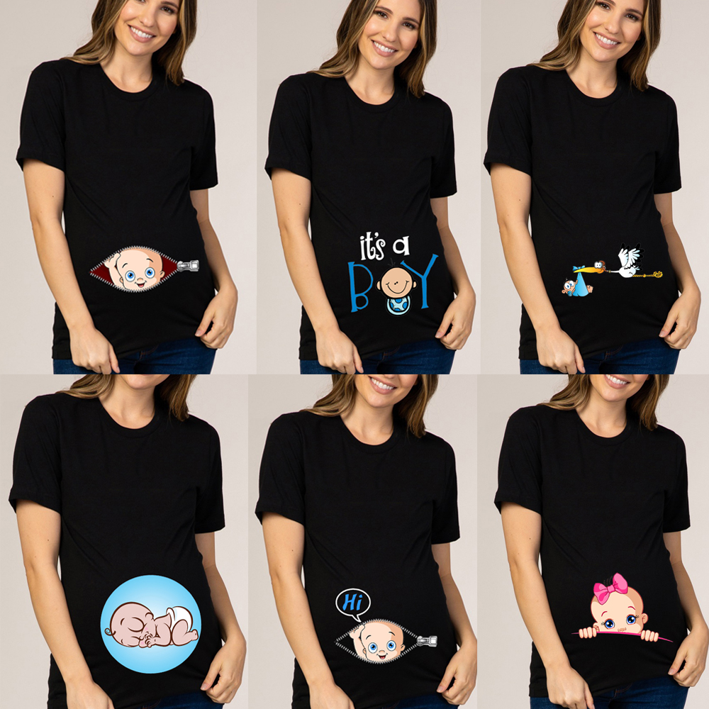 Pregnant Women Maternity Clothes Baby Print Pregnant Funny T-shirt Summer Maternity Tops Pregnancy Announcement New Baby Tee