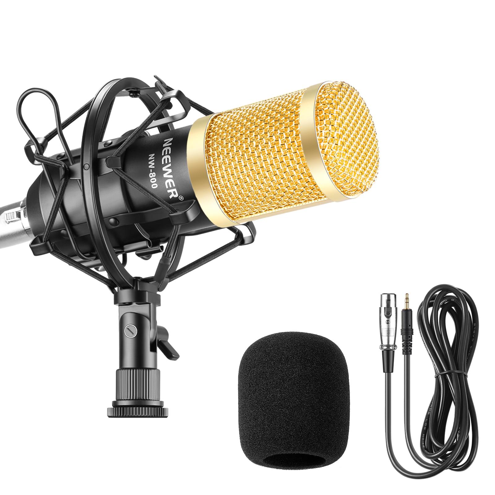 Набор микрофонов Neewer NW800 включает: NW-800 профессиональный конденсаторный микрофон + амортизирующее крепление + пенопластовая крышка + кабель ...