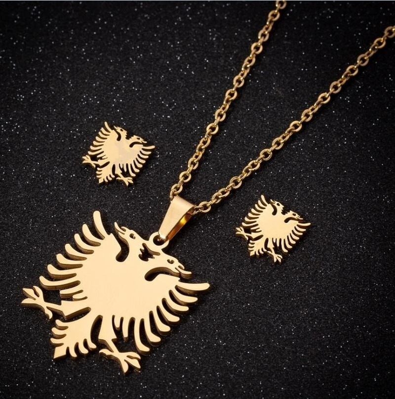 Creative Design Punk Albanian Flag Shaped High Quality Metal Double Headed Bird Small Earrings Necklaces Women Set Jewelry