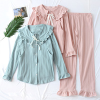 Women Knitted pajamas Cotton Maternity Clothing Loose Plus Size Sleepwer Winter Solid Color Breast feeding Lapel Pajama Set