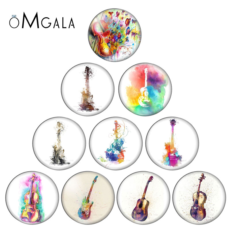 Music guitar Round photo glass cabochon demo flat back Making findings 10mm/12mm/18mm/20mm/25mm Guitar Aquarelle Photo Cabochons