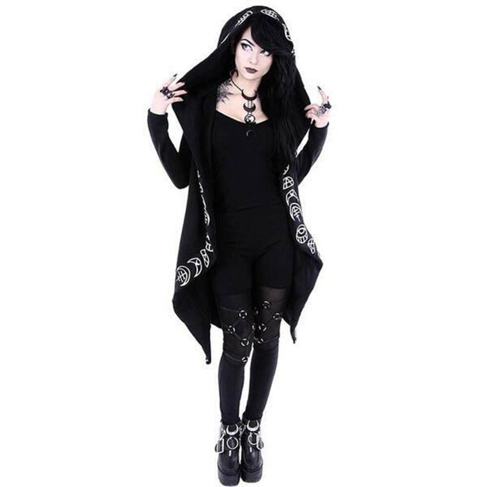 5XL Women Long Sleeves Punk style Moon Print Hooded Black Cardigan   trench   Plus Size winter fashion Coat manteau femme