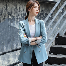 Women's suit jacket autumn new thin section loose casual long-sleeved suit jacket solid color double-breasted women's clothing